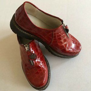 Geier Wally Red Leather Croc Zip Apres Shoes
